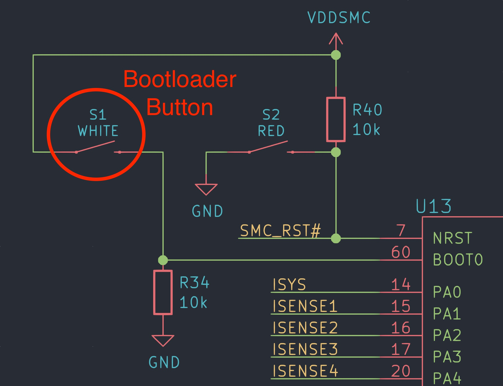 Gameslab schematic bootloader button